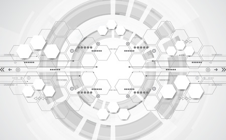 Concepto de fondo tecnológico abstracto con diversos elementos tecnológicos. vector de ilustración