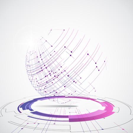 Vector concepto de tecnología global digital, ilustración de fondo abstracto