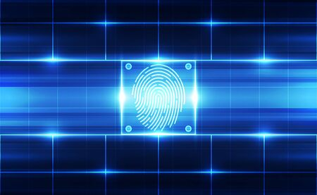 Fingerprint integrated in a printed circuit, releasing binary codes. fingerprint Scanning Identification System. Biometric Authorization and Business Security Concept. Vector illustration background Foto de archivo - 129787208