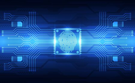 Fingerprint integrated in a printed circuit, releasing binary codes. fingerprint Scanning Identification System. Biometric Authorization and Business Security Concept. Vector illustration background Ilustração