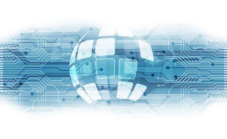 wektorowa koncepcja cyfrowej globalnej technologii, abstrakcyjne tło
