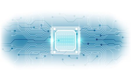 Abstract technology chip processor background circuit board and code, illustration blue technology background vector. Illustration