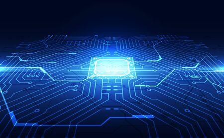 Grafica vettoriale. sfondo della tecnologia di velocità del processore chip. illustrazione vettoriale Vettoriali