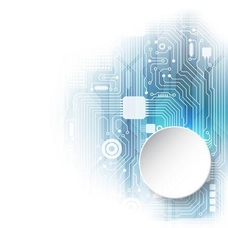 Abstraktes technologisches Hintergrundkonzept mit verschiedenen Technologieelementen. Abbildung Vektor