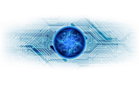 Vector Abstract futuristic circuit board global system, Illustration high digital technology blue color concept