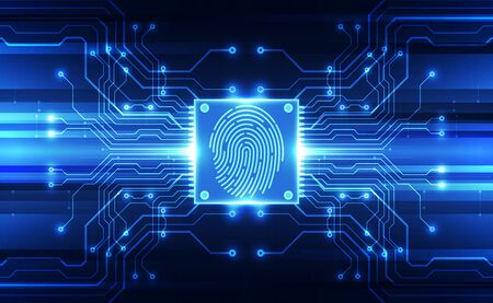 Fingerprint integrated in a printed circuit, releasing binary codes. fingerprint Scanning Identification System. Biometric Authorization and Business Security Concept. Vector illustration background