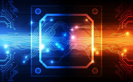 Abstract technology chip processor background circuit board and code, illustration blue technology background vector. Vector Illustration