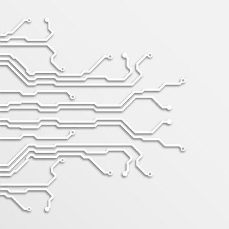3d circuit board paper art background, vector illustration Illustration