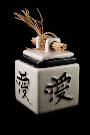 Chinese tea box on a black background photo