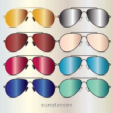 sun protection: Summer sun protection sunglasses realistic icons set isolated vector illustration Illustration