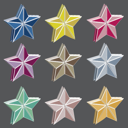 top class: Star icons isolated on a gray background. Vector illustration.
