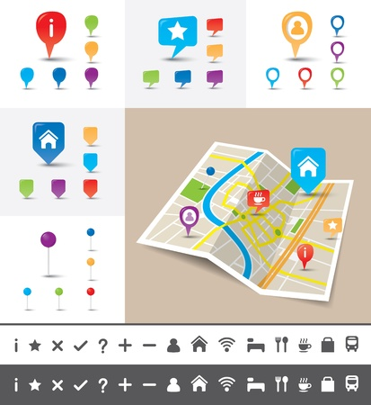 A folded map of an imaginary city with icons and pin template Vector