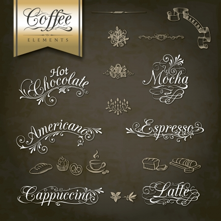 bakery sign: T�tulos y s�mbolos caligr�ficos para el men� y el dise�o de caf� Vectores