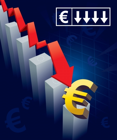 Illustration of financial graphs and Euro currency symbols crashing to the floor Vector