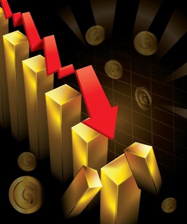 crashing: Illustration of financial graphs and Gold bar crashing to the floor