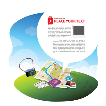 Travel elements   concept with speech bubble for text layout Illustration