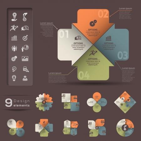 graficas de pastel: Infografía plantilla de elemento gráfico