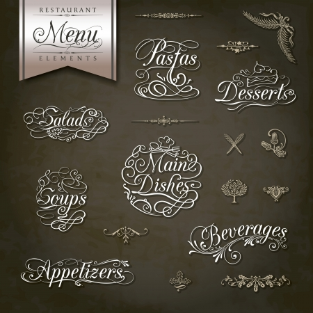 ornament menu: Calligraphic titles and symbols for restaurant menu and design Illustration
