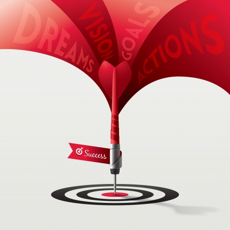 goal achievement: Dart Target Business Concept Illustration