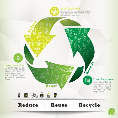 reciclaje de papel: Reciclar ilustración del concepto de Vectores