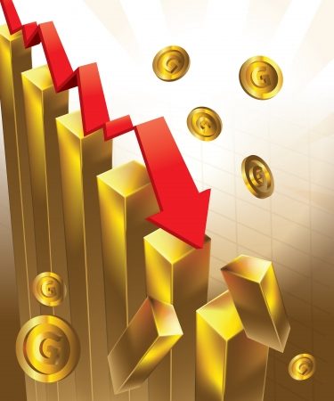 economic crisis: Illustration of financial graphs and Gold bar crashing to the floor