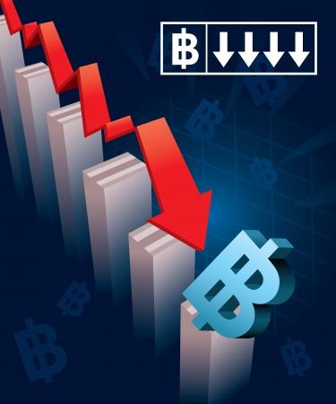 stock market crash: Illustration of financial graphs and Thai Baht currency symbols crashing to the floor Illustration
