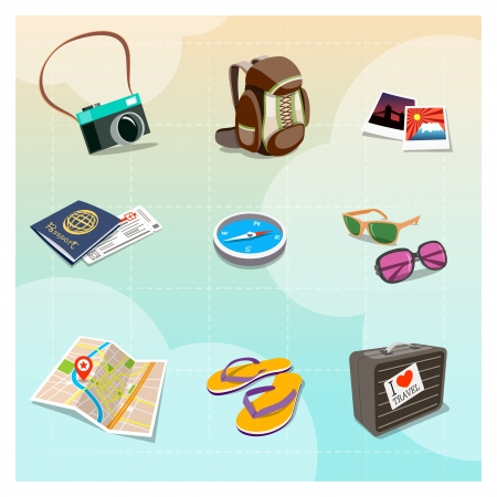 Colorful Travel Clipart in Cartoon style Vector
