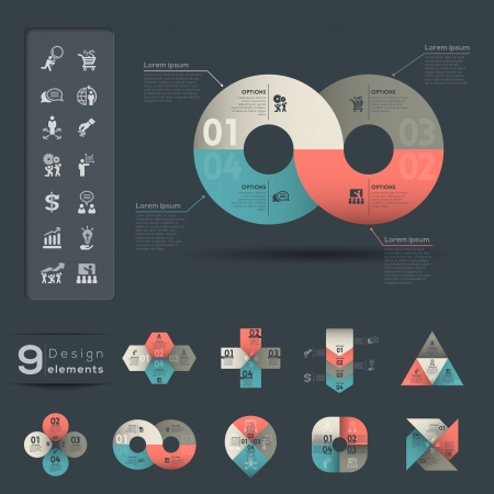 グラフィック要素のインフォ グラフィック テンプレート  イラスト・ベクター素材
