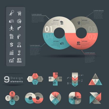 infinito simbolo: Infografía plantilla de elemento gráfico