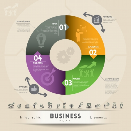 circle chart: Business Plan Concept Illustration  Illustration