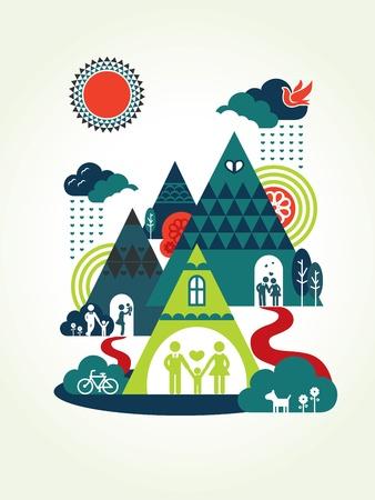 familia parque: Familia feliz con actividades ilustraci�n del concepto de