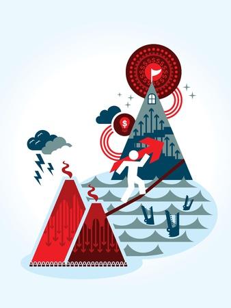 financial management: Risk and Reward business concept Illustration