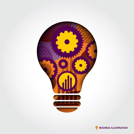 Minimal style Light Bulb shape with Business Idea Concept Illustration