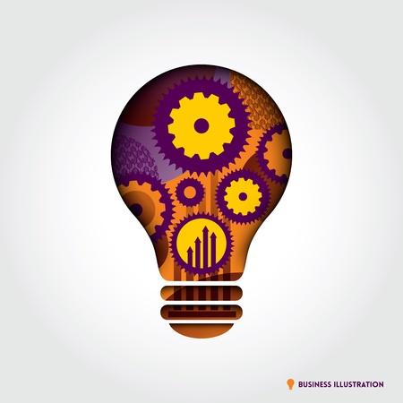 minimal: Minimal style Light Bulb shape with Business Idea Concept Illustration