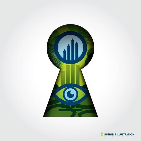 key hole: Minimal style Key Hole Business Concept Illustration