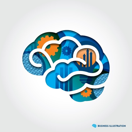 creative thinking: Minimal style Brain Illustration with Business Concept