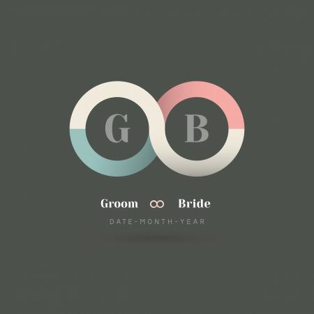 シンボル: ミニマリズムの無限大記号結婚式招待状テンプレート