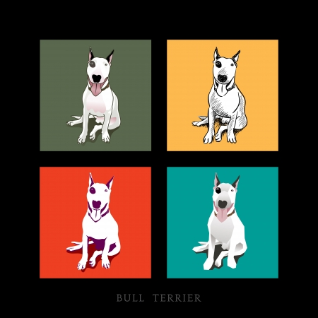 warhol: Various Style of a white Bull Terrier Dog sitting isolated