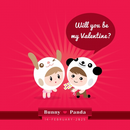 cartoon panda: Cute kawaii couple character in rabbit and panda costume with Valentines concept illustration Illustration