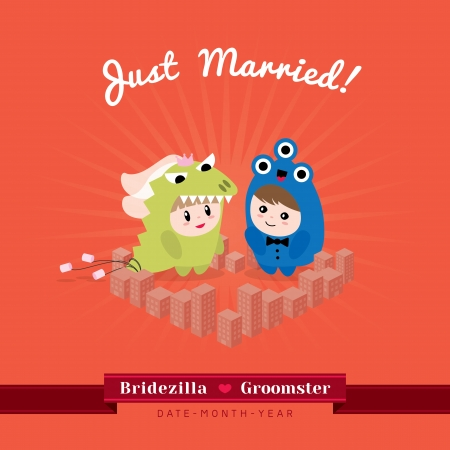 cartoon wedding couple: Cute kawaii groom monster and bridezilla character standing in the heart shape city  Illustration