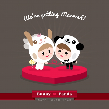 propose: Cute kawaii groom and bride character in rabbit and panda helmet ready to get married