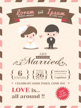 свадьба: Свадебное приглашение шаблон с милой жениха и невесты мультфильм Иллюстрация