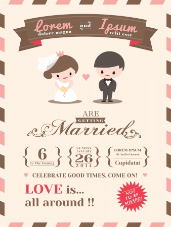 tarjeta postal: Plantilla de tarjeta de invitación de la boda con el novio lindo y dibujos animados novia
