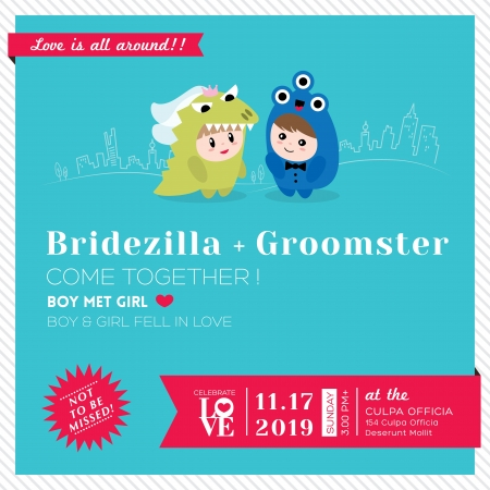 Wedding Invitation Template with Cute kawaii groom monster and bridezilla character Vector