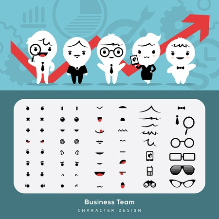 Create more than 1000s combinations business characters with these elements