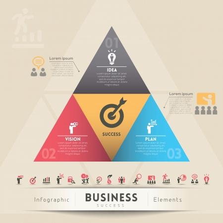 planning diagram: Strategia di 3 punti per business di successo Vettoriali