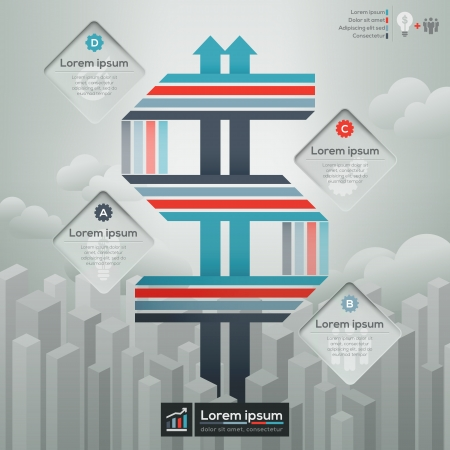 modern buildings: Dollar Sign symbol concept Illustration for financial Info-graphics  workflow layout Business plan Book Cover  Brochure layout