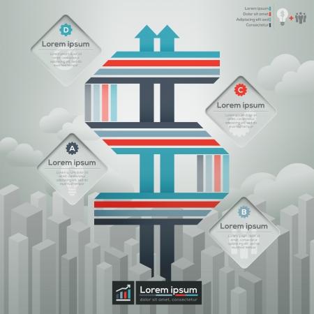 planning diagram: Simbolo del dollaro simbolo concetto illustrazione per Info-grafica  workflow Layout  business plan  Copertina  Layout Brochure Prenota finanziaria Vettoriali