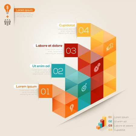 financial graph: Isometric shape modern style design layout