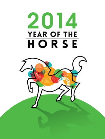 New Year 2014 - Year of the Horse Illustration Stock Vector - 21423122